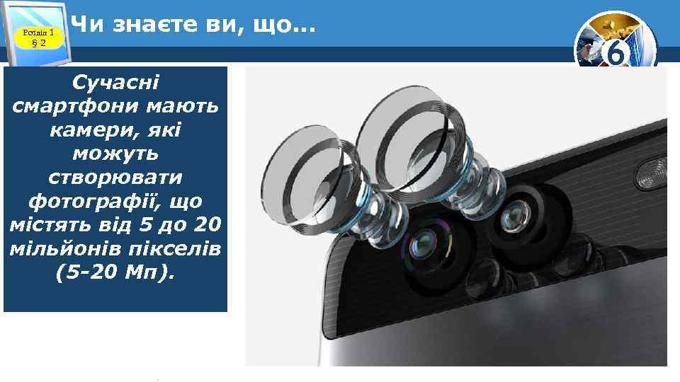 Розділ 1 § 2 Чи знаєте ви, що. . . Сучасні смартфони мають камери,