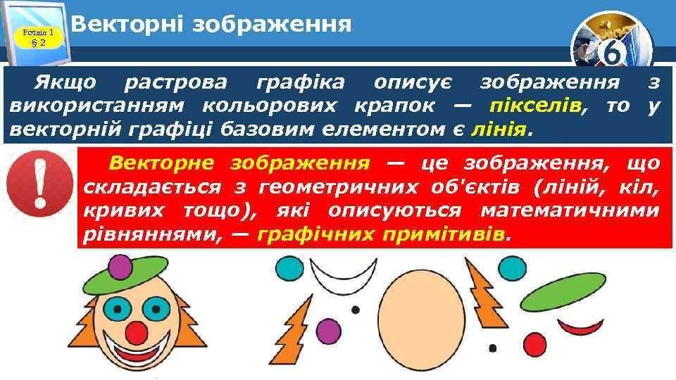 Розділ 1 § 2 Векторні зображення 6 Якщо растрова графіка описує зображення з використанням