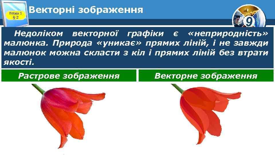 Розділ 1 § 2 Векторні зображення 9 Недоліком векторної графіки є «неприродність» малюнка. Природа