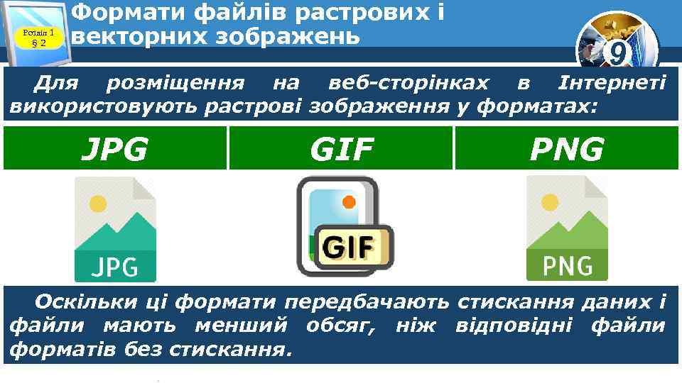 Розділ 1 § 2 Формати файлів растрових і векторних зображень 9 Для розміщення на