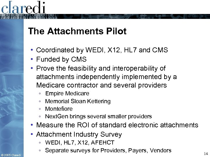 The Attachments Pilot • Coordinated by WEDI, X 12, HL 7 and CMS •