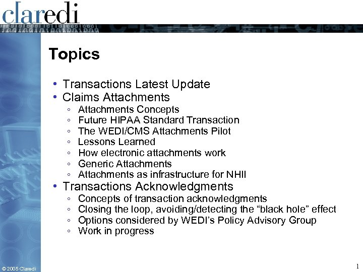 Topics • Transactions Latest Update • Claims Attachments ◦ ◦ ◦ ◦ Attachments Concepts