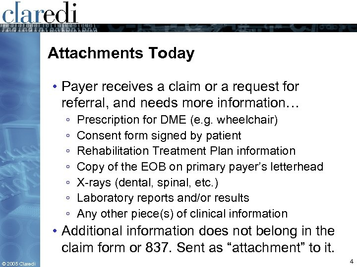 Attachments Today • Payer receives a claim or a request for referral, and needs