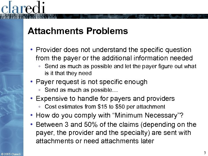 Attachments Problems • Provider does not understand the specific question from the payer or