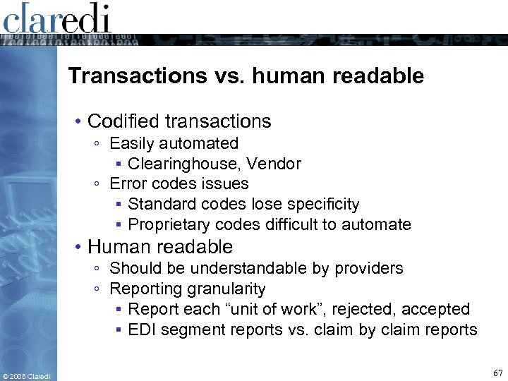 Transactions vs. human readable • Codified transactions ◦ Easily automated ▪ Clearinghouse, Vendor ◦