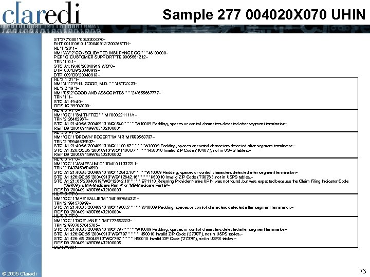 Sample 277 004020 X 070 UHIN ST*277*0001*004020 X 070~ BHT*0010*06*0. 1*20040913*200256*TH~ HL*1**20*1~ NM 1*AY*2*CONSOLIDATED