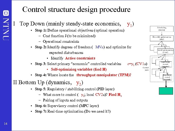 Control structure design procedure I Top Down (mainly steady-state economics, y 1) • Step