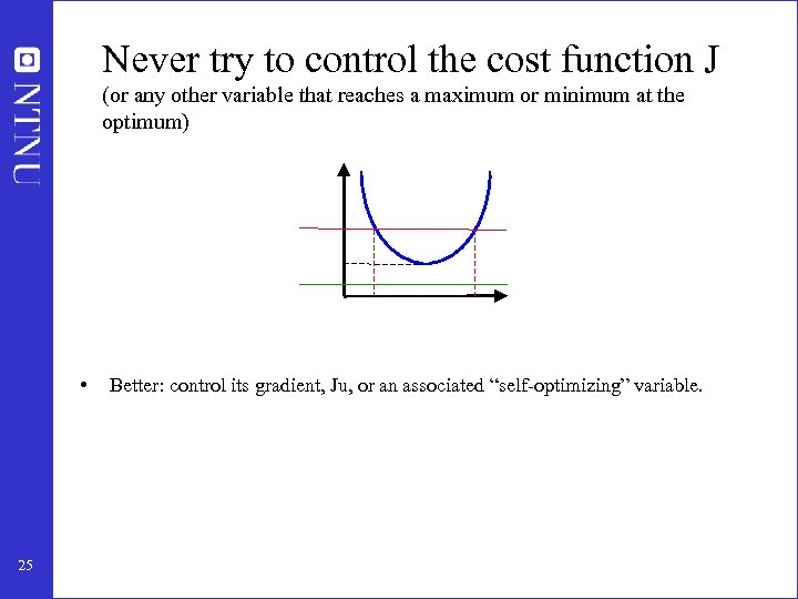 Never try to control the cost function J (or any other variable that reaches