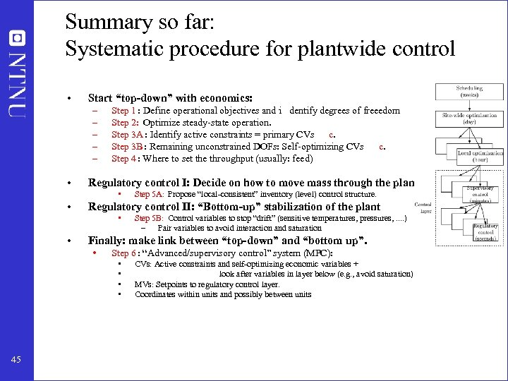 """Summary so far: Systematic procedure for plantwide control • Start """"top-down"""" with economics: –"""