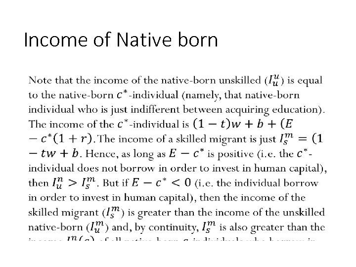 Income of Native born • 170