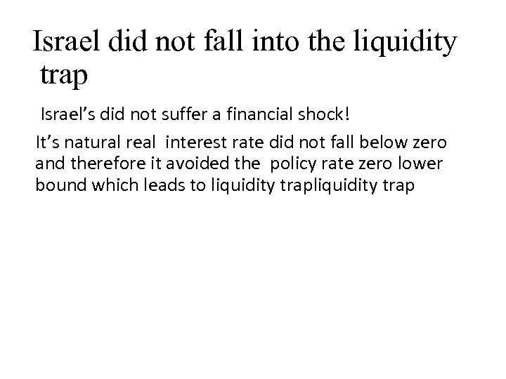 Israel did not fall into the liquidity trap Israel's did not suffer a financial