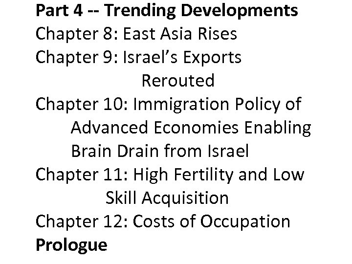 Part 4 -- Trending Developments Chapter 8: East Asia Rises Chapter 9: Israel's Exports
