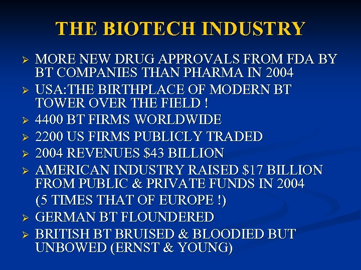 THE BIOTECH INDUSTRY Ø Ø Ø Ø MORE NEW DRUG APPROVALS FROM FDA BY