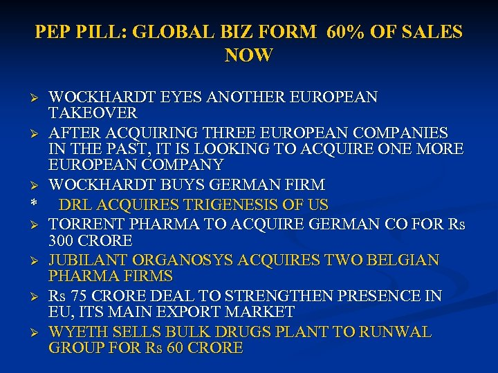 PEP PILL: GLOBAL BIZ FORM 60% OF SALES NOW WOCKHARDT EYES ANOTHER EUROPEAN TAKEOVER