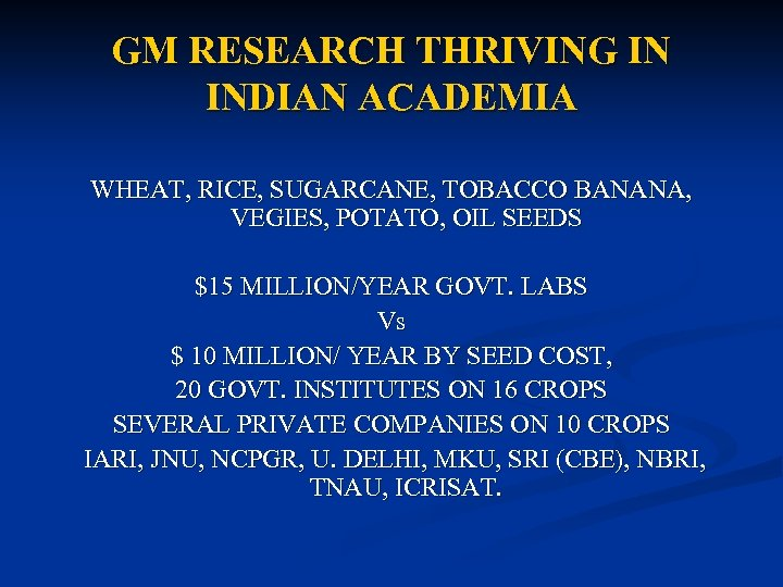 GM RESEARCH THRIVING IN INDIAN ACADEMIA WHEAT, RICE, SUGARCANE, TOBACCO BANANA, VEGIES, POTATO, OIL