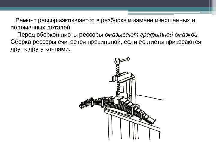 Ремонт рессор заключается в разборке и замене изношенных и поломанных деталей. Перед сборкой листы