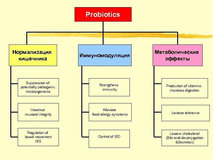 Probiotics Нормализация кишечника Suppression of potentially pathogenic microorganisms Иммуномодуляция Strengthens immunity Метаболические эффекты Production