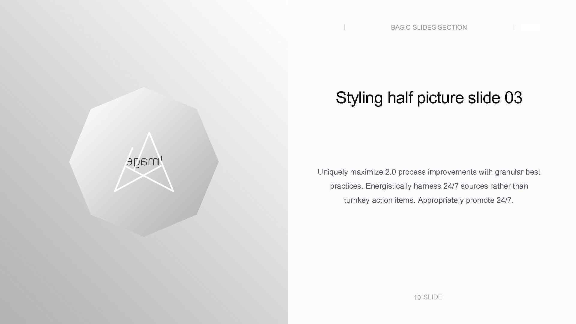 BASIC SLIDES SECTION SLIDE Styling half picture slide 03 Uniquely maximize 2. 0 process