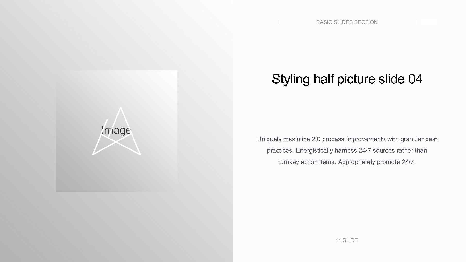 BASIC SLIDES SECTION SLIDE Styling half picture slide 04 Uniquely maximize 2. 0 process
