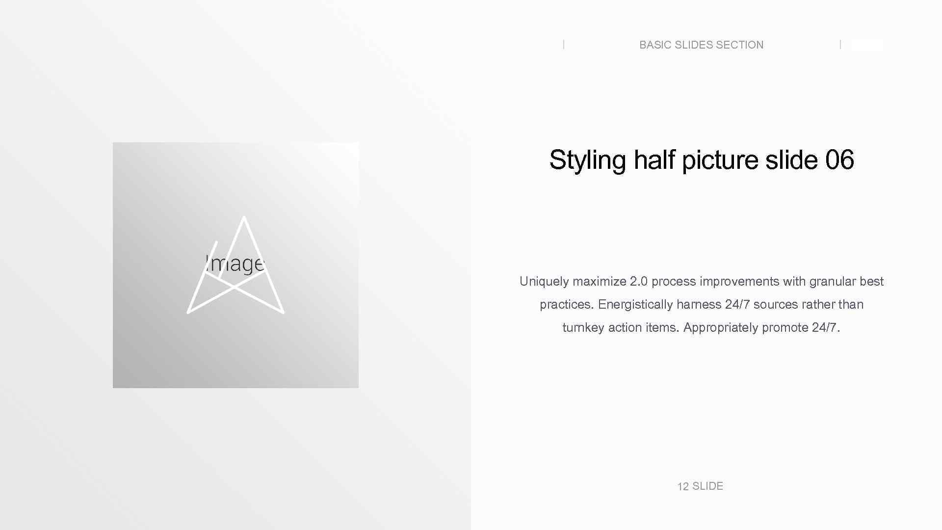 BASIC SLIDES SECTION SLIDE Styling half picture slide 06 Uniquely maximize 2. 0 process
