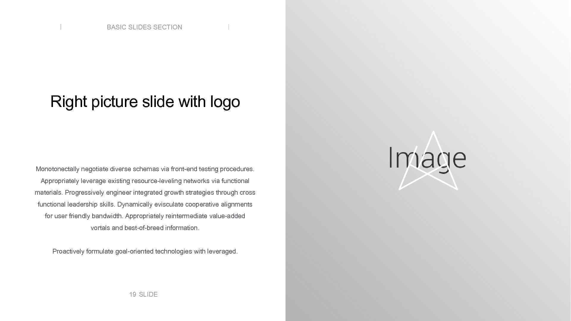 BASIC SLIDES SECTION Right picture slide with logo Monotonectally negotiate diverse schemas via front-end