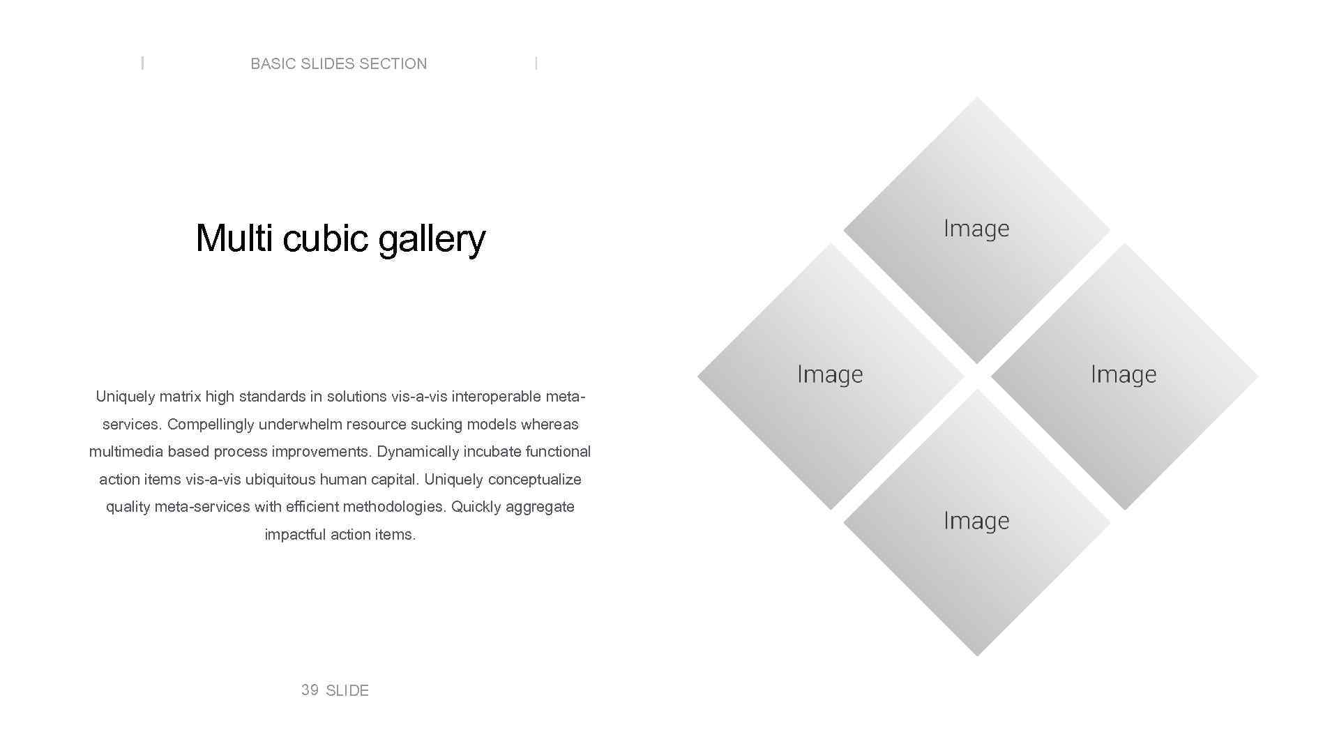 BASIC SLIDES SECTION Multi cubic gallery Uniquely matrix high standards in solutions vis-a-vis interoperable