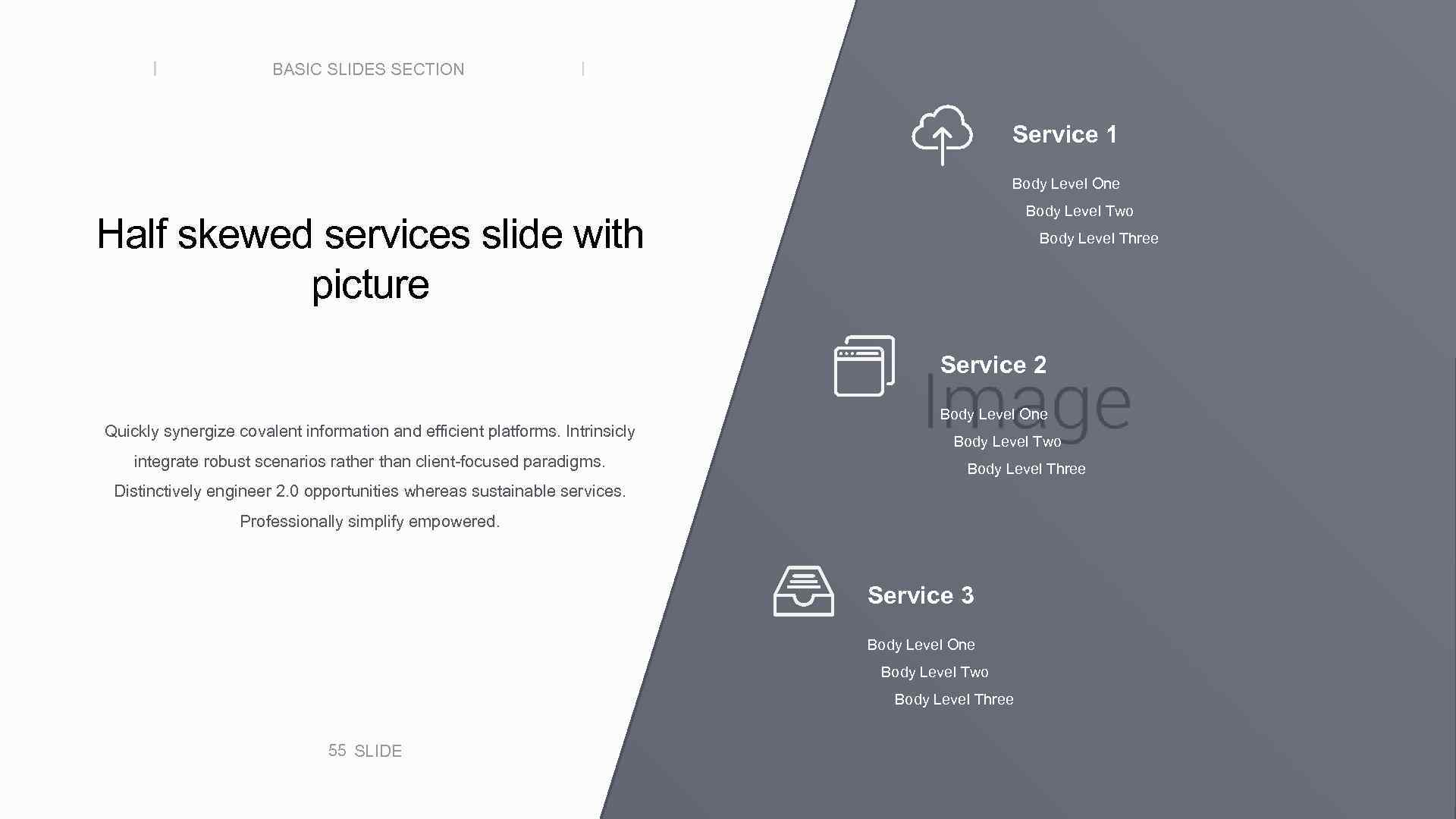 BASIC SLIDES SECTION Service 1 Body Level One Body Level Two Half skewed services