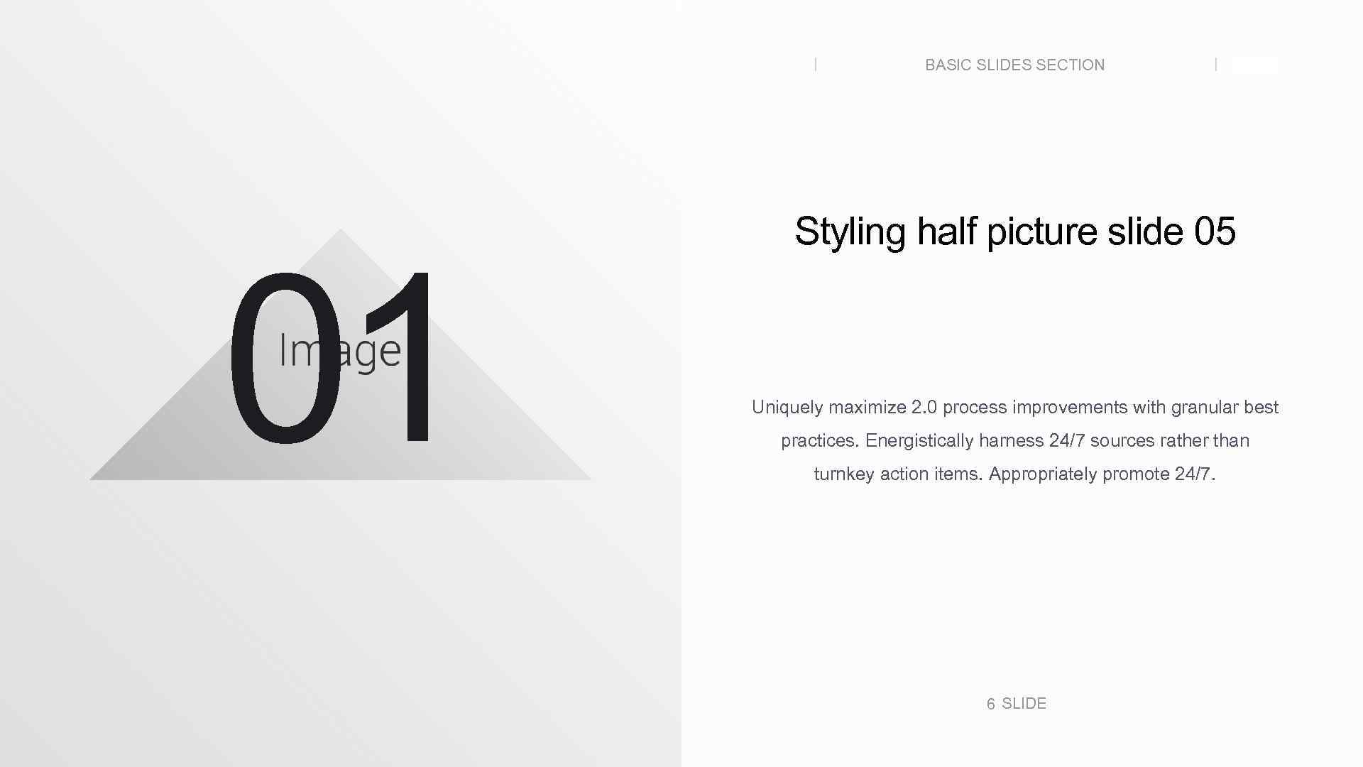 BASIC SLIDES SECTION 01 SLIDE Styling half picture slide 05 Uniquely maximize 2. 0