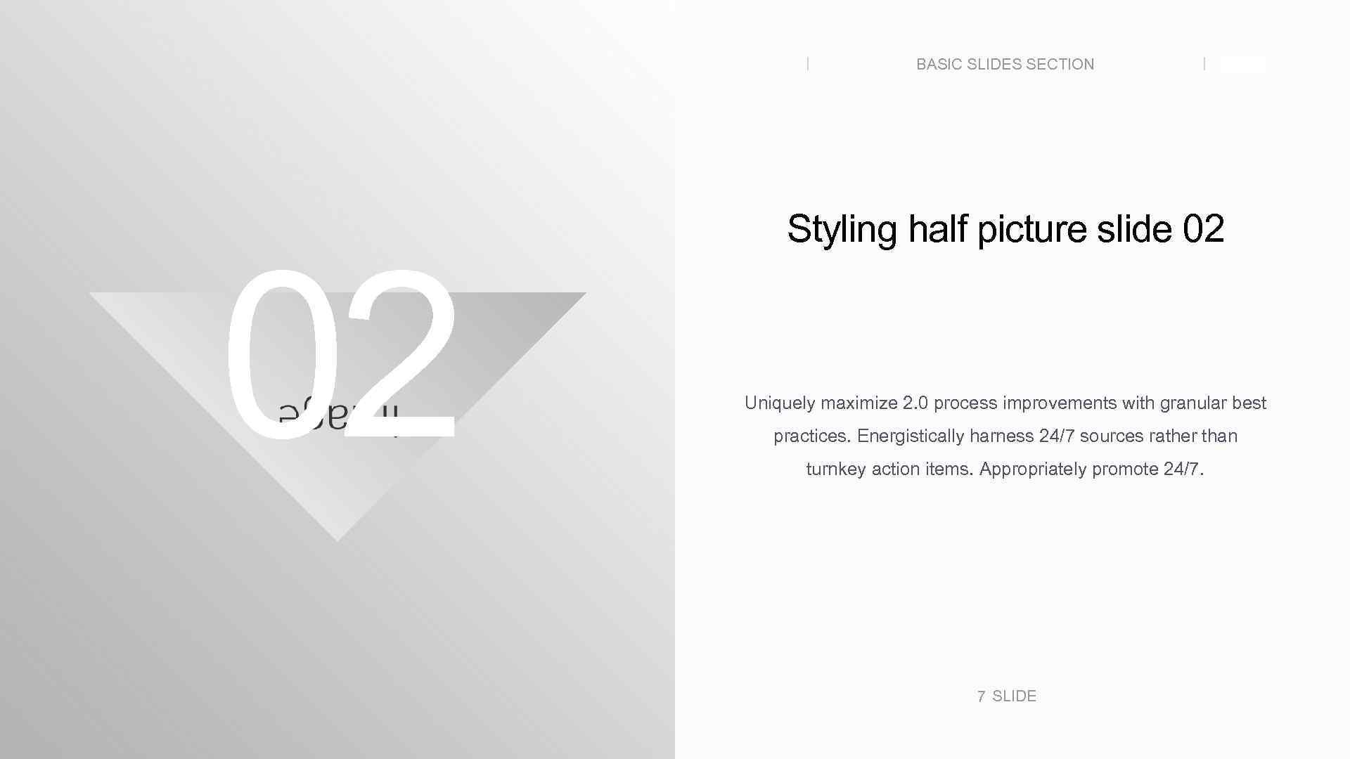 BASIC SLIDES SECTION 02 SLIDE Styling half picture slide 02 Uniquely maximize 2. 0