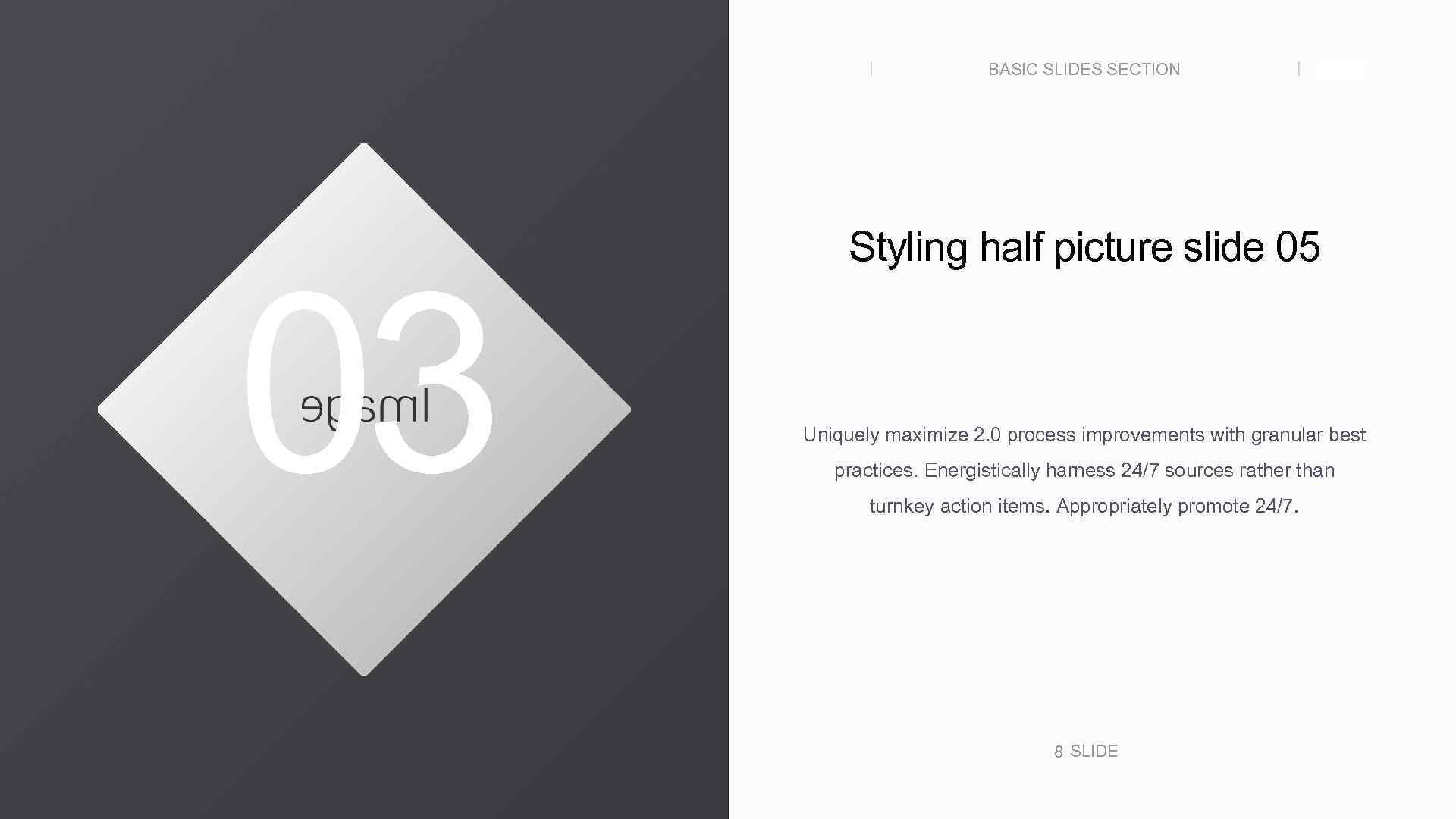 BASIC SLIDES SECTION 03 SLIDE Styling half picture slide 05 Uniquely maximize 2. 0