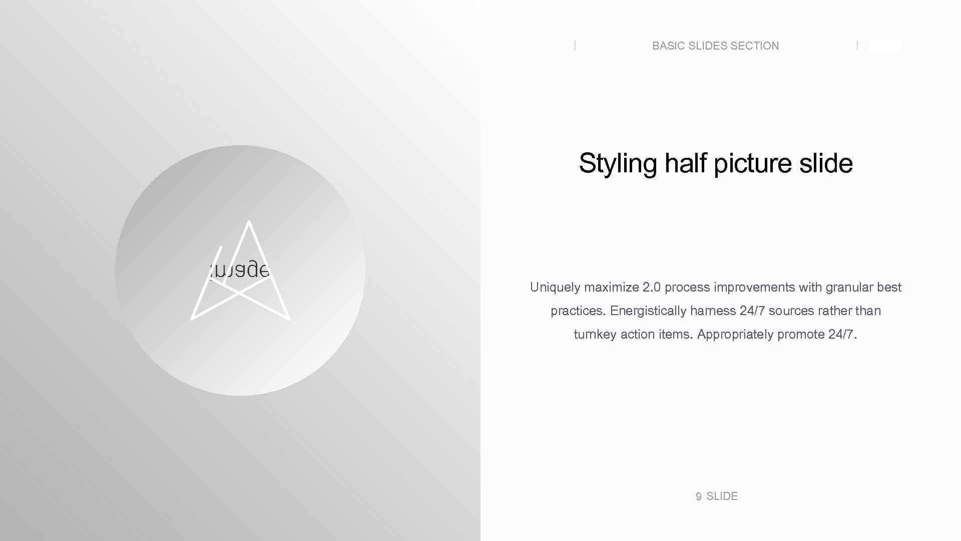 BASIC SLIDES SECTION SLIDE Styling half picture slide Uniquely maximize 2. 0 process improvements