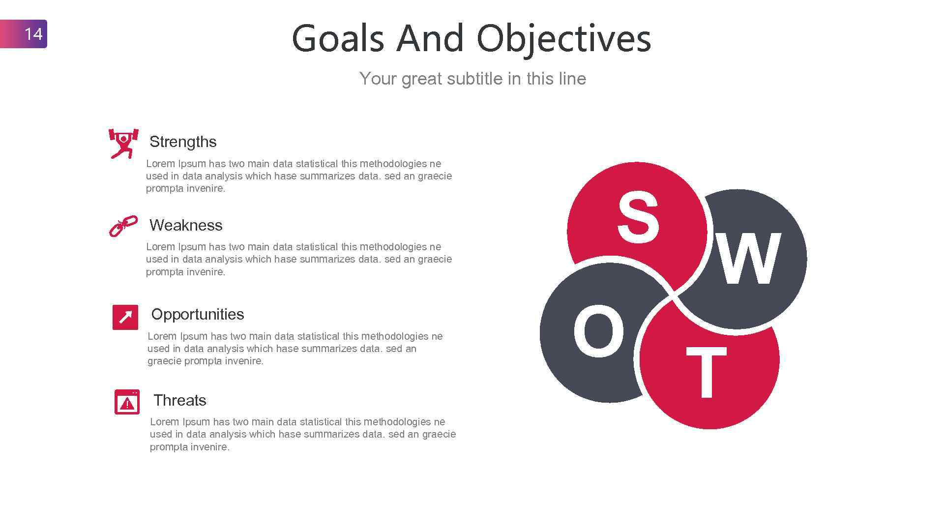 Goals And Objectives 14 Your great subtitle in this line Strengths Lorem Ipsum has