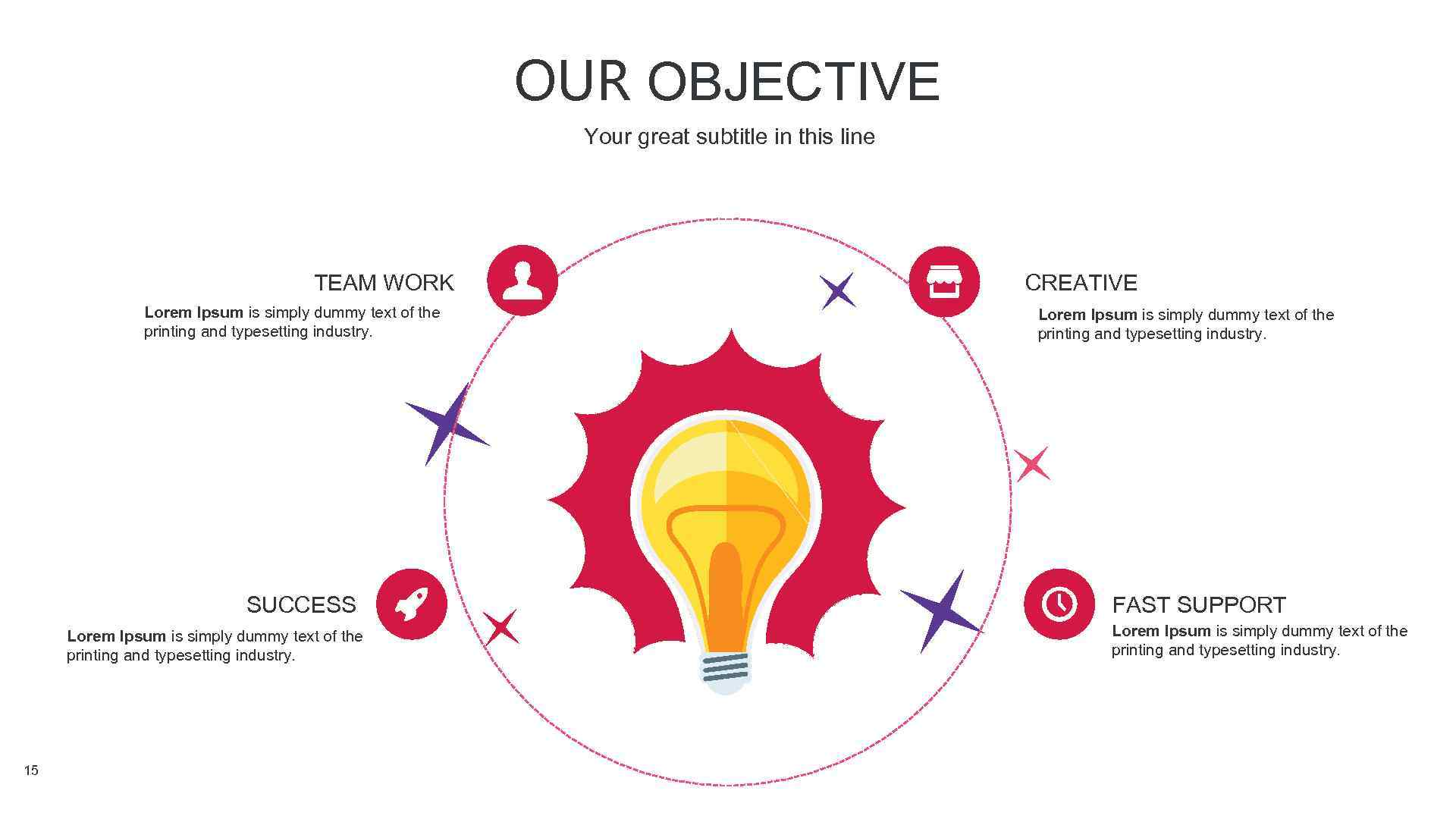 OUR OBJECTIVE Your great subtitle in this line TEAM WORK Lorem Ipsum is simply