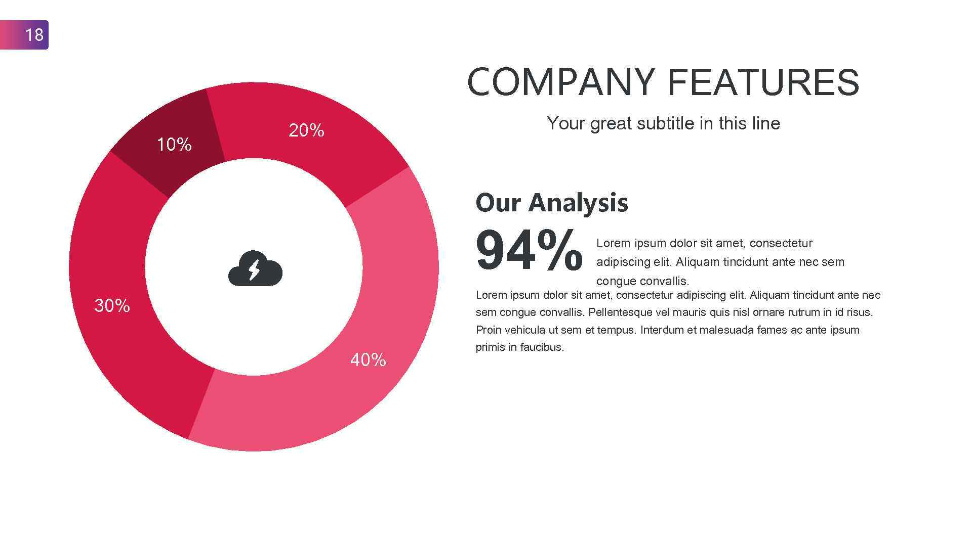 18 COMPANY FEATURES 10% Your great subtitle in this line 20% Our Analysis 94%