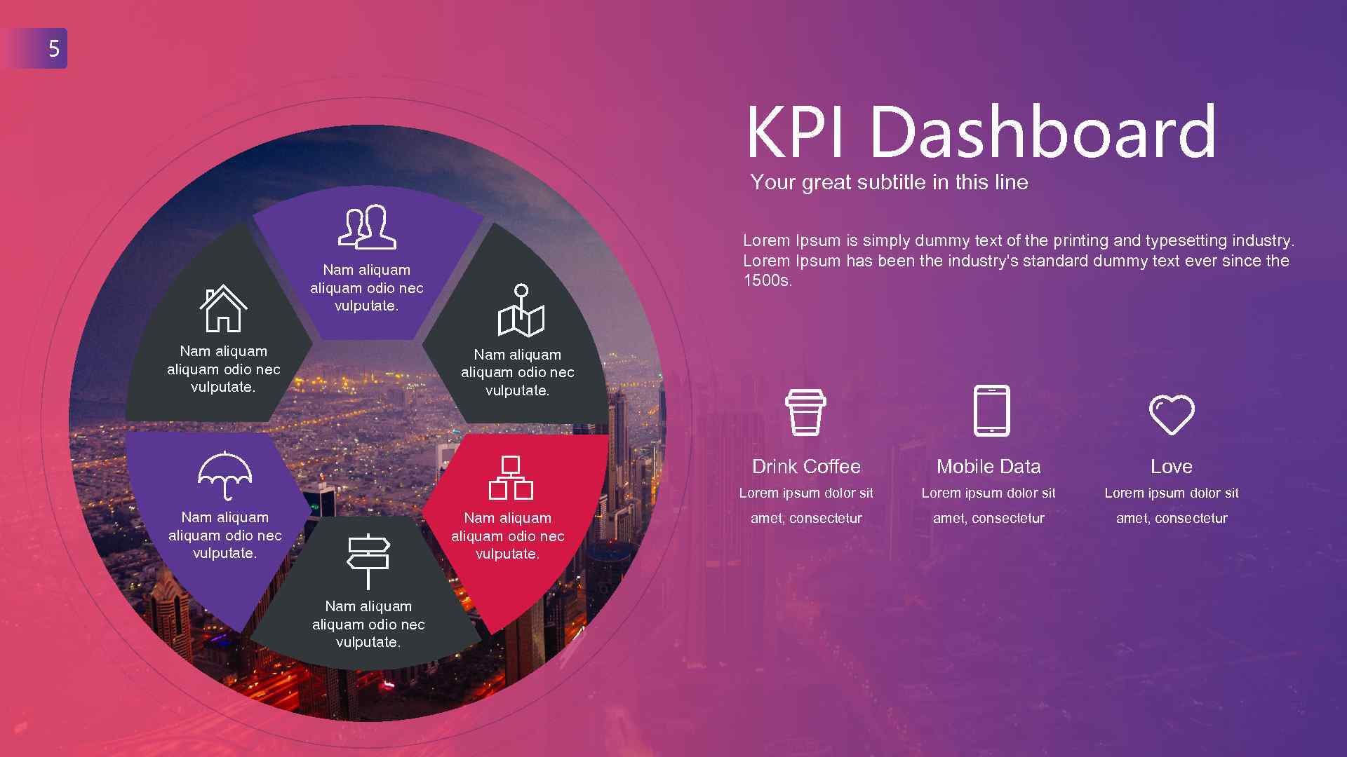 5 KPI Dashboard Your great subtitle in this line Lorem Ipsum is simply dummy