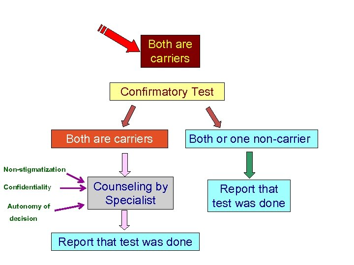 Both are carriers Confirmatory Test Both are carriers Both or one non-carrier Non-stigmatization Confidentiality