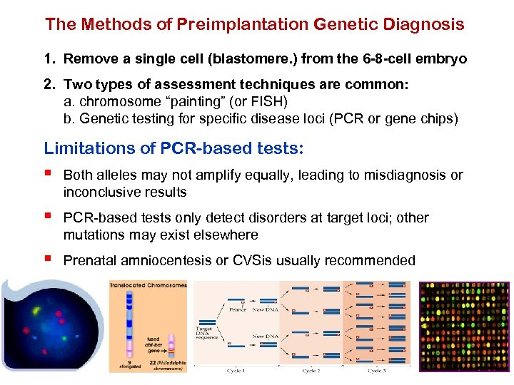The Methods of Preimplantation Genetic Diagnosis 1. Remove a single cell (blastomere. ) from