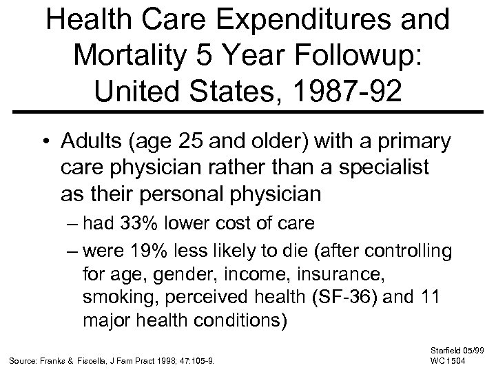 Health Care Expenditures and Mortality 5 Year Followup: United States, 1987 -92 • Adults