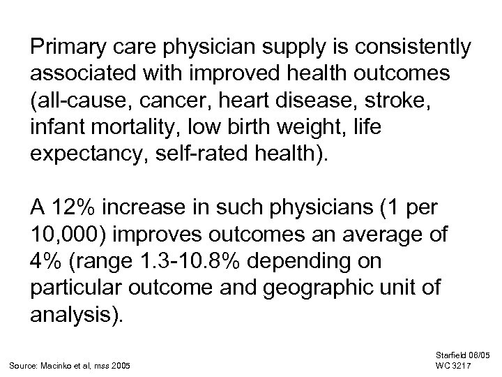Primary care physician supply is consistently associated with improved health outcomes (all-cause, cancer, heart