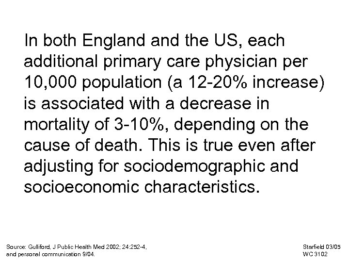 In both England the US, each additional primary care physician per 10, 000 population