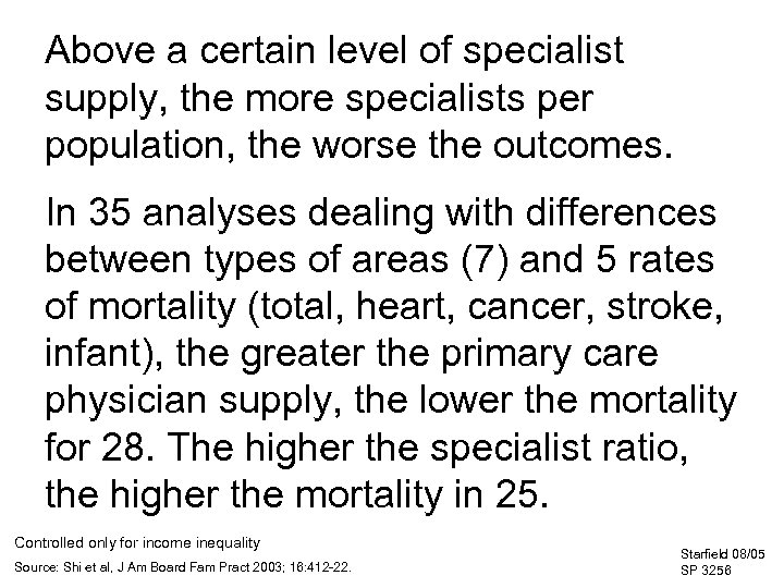 Above a certain level of specialist supply, the more specialists per population, the worse