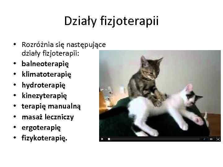Działy fizjoterapii • Rozróżnia się następujące działy fizjoterapii: • balneoterapię • klimatoterapię • hydroterapię