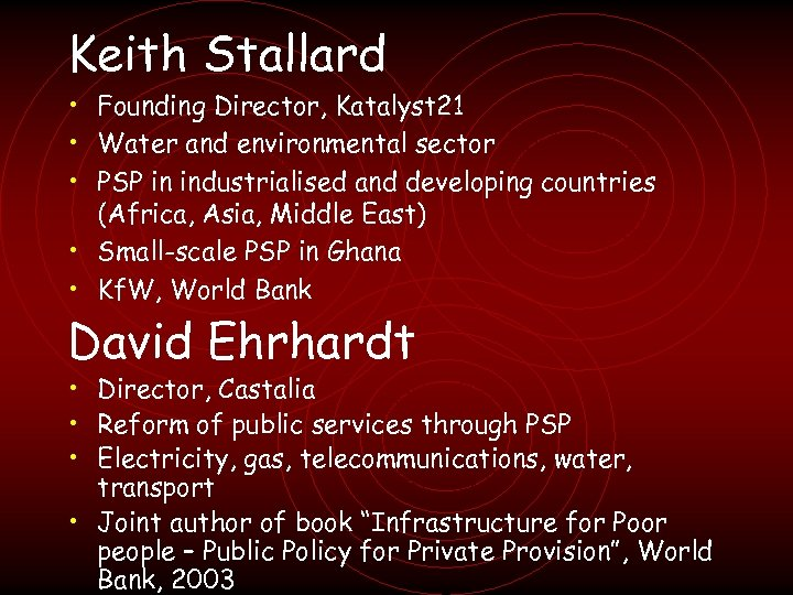 Keith Stallard • Founding Director, Katalyst 21 • Water and environmental sector • PSP