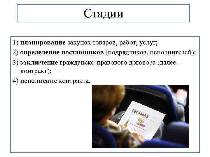 Стадии 1) планирование закупок товаров, работ, услуг; 2) определение поставщиков (подрядчиков, исполнителей); 3) заключение