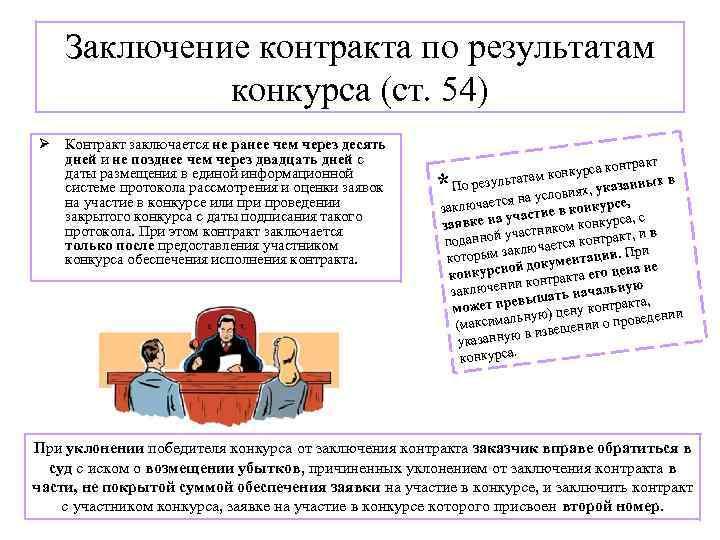 Заключение контракта по результатам конкурса (ст. 54) Ø Контракт заключается не ранее чем через
