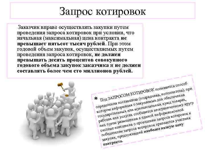 Запрос котировок Заказчик вправе осуществлять закупки путем проведения запроса котировок при условии, что начальная