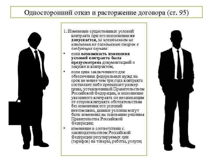 Односторонний отказ и расторжение договора (ст. 95) 1. Изменение существенных условий контракта при его