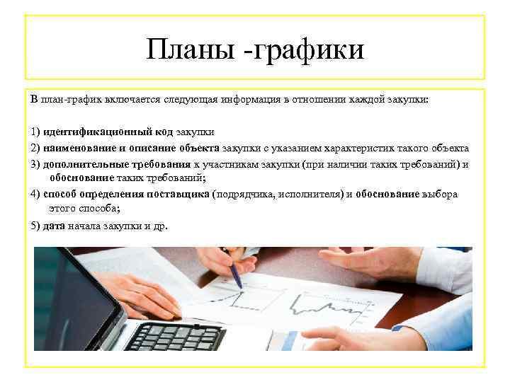 Планы -графики В план-график включается следующая информация в отношении каждой закупки: 1) идентификационный код