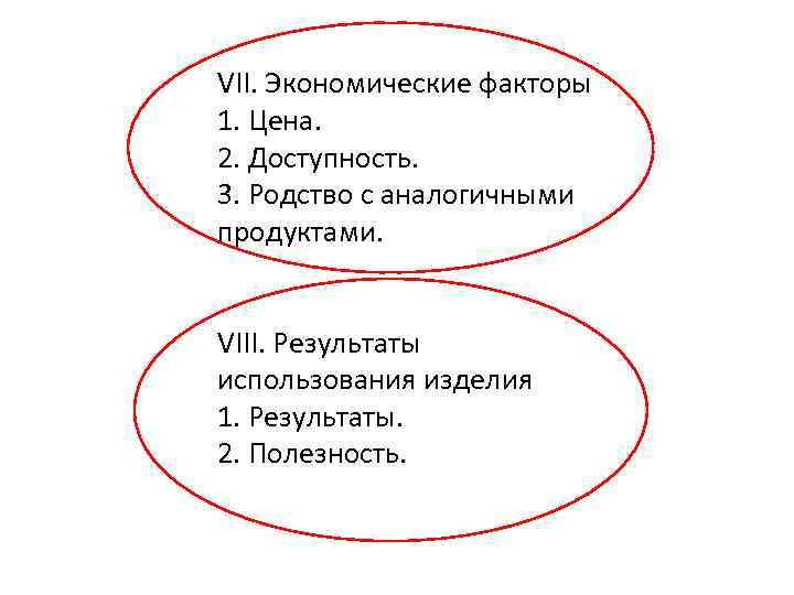 VII. Экономические факторы 1. Цена. 2. Доступность. 3. Родство с аналогичными продуктами. VIII. Результаты