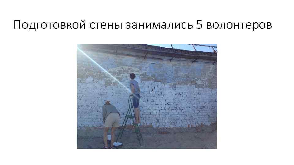 Подготовкой стены занимались 5 волонтеров